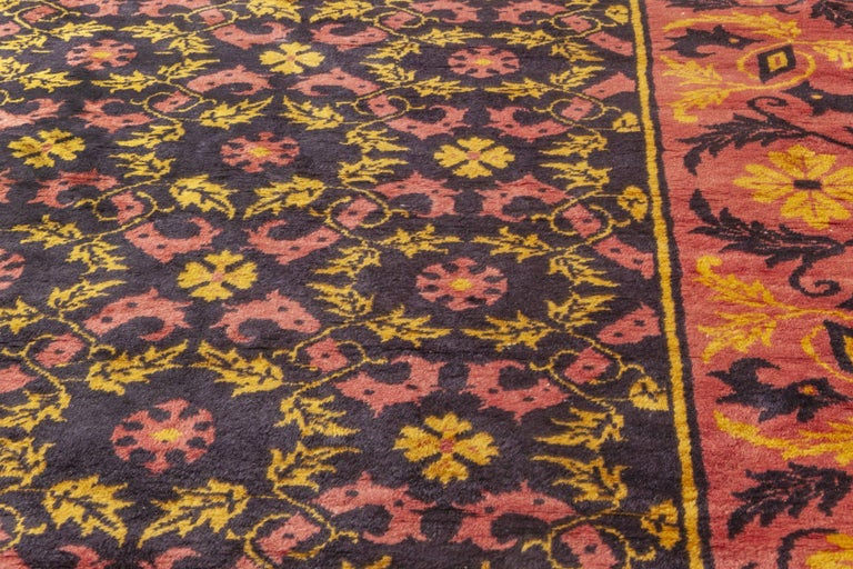 Midcentury Chinese Deep Purple, Pink and Yellow Handmade Wool Rug In Good Condition For Sale In New York, NY