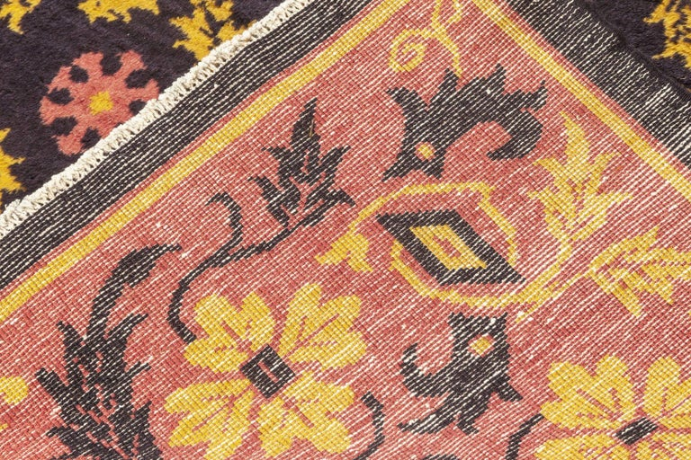 20th Century Midcentury Chinese Deep Purple, Pink and Yellow Handmade Wool Rug For Sale