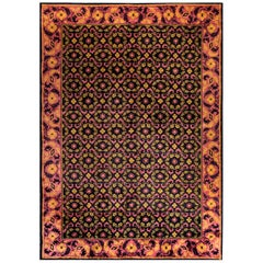 Midcentury Chinese Deep Purple, Pink and Yellow Handmade Wool Rug