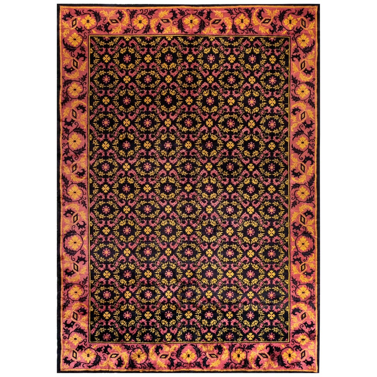Midcentury Chinese Deep Purple, Pink and Yellow Handmade Wool Rug For Sale