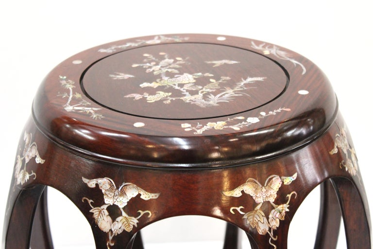 Chinese Late 20th Century Rosewood Garden Seats with Mother of Pearl Inlay For Sale 6