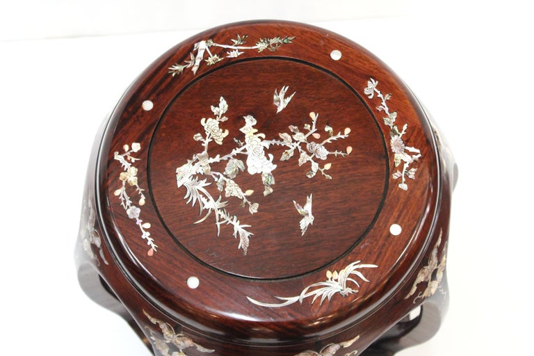 Chinese Export Chinese Late 20th Century Rosewood Garden Seats with Mother of Pearl Inlay For Sale
