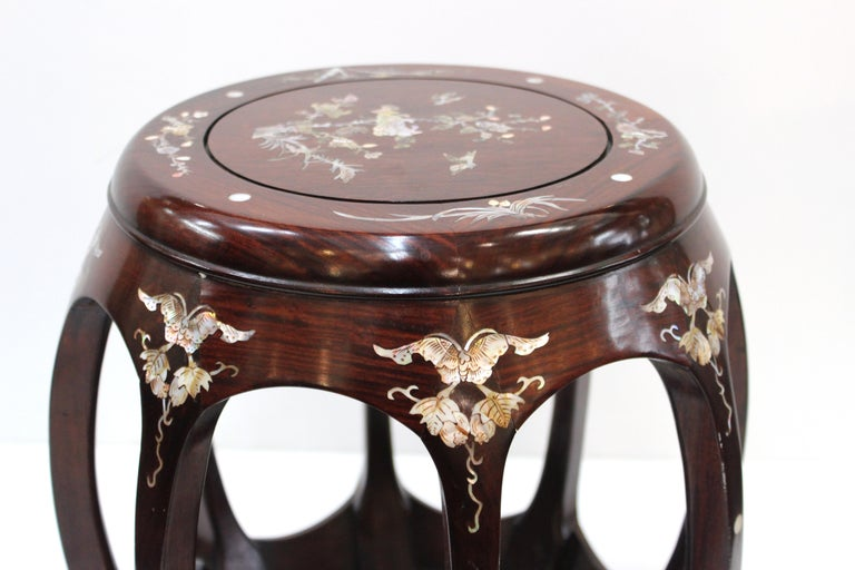 Mother-of-Pearl Chinese Late 20th Century Rosewood Garden Seats with Mother of Pearl Inlay For Sale
