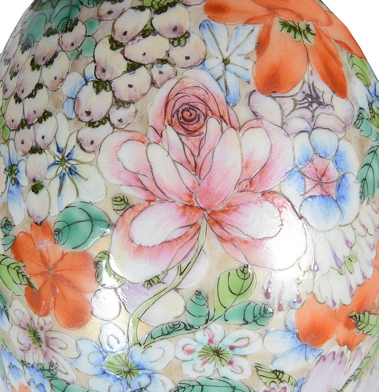 20th Century Chinese Millie Fleur Porcelain Vase, circa 1910 For Sale