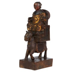 Chinese Ming Carved & Lacquered Wooden Dignitary on Horseback Figure