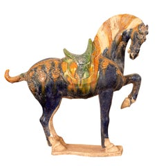 Chinese Ming Design Glazed Terracotta Tricolor Prancing Horse Sculpture on Base