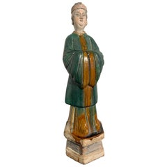 Chinese Ming Dynasty Glazed Tall Attendant Figure, 16th-17th Century, China