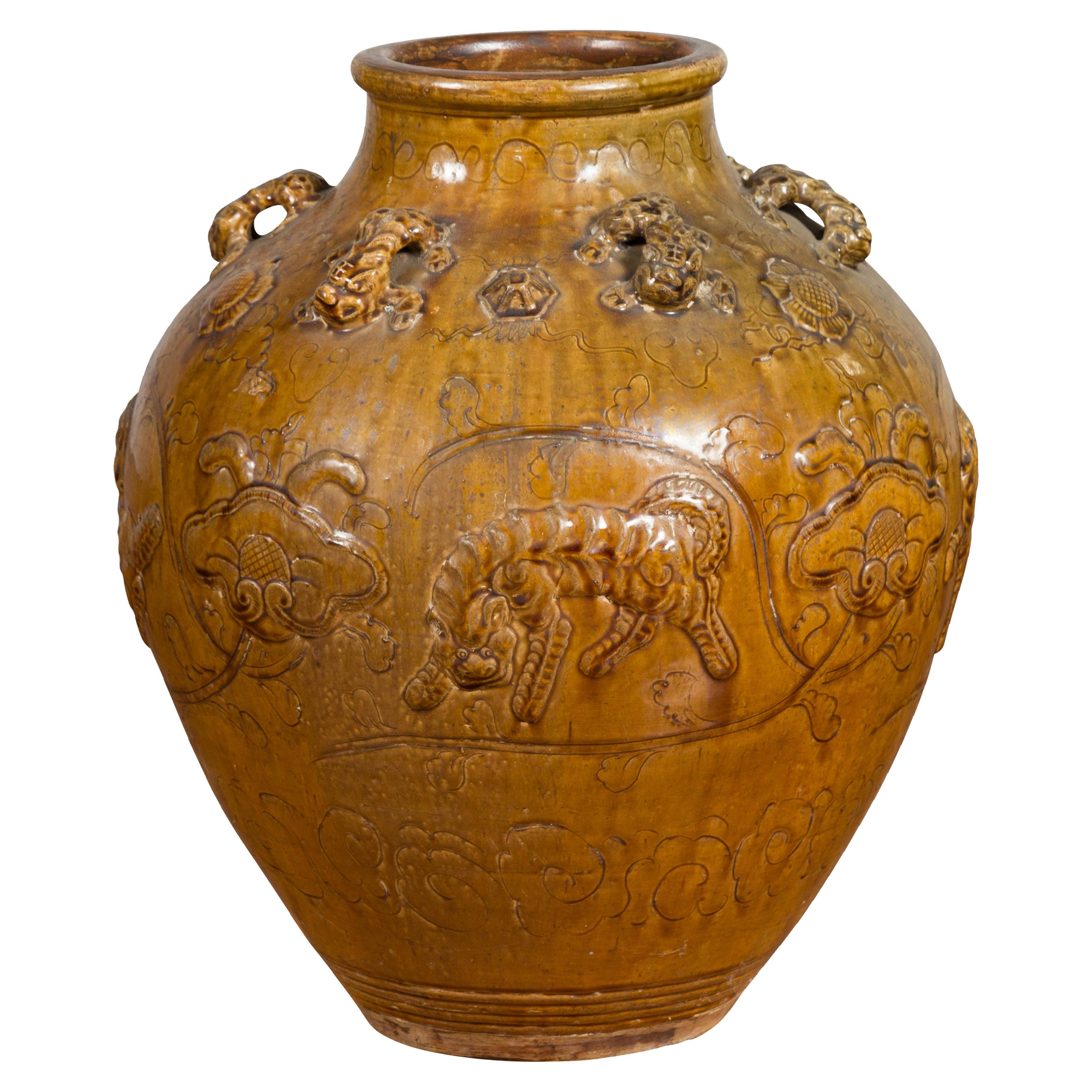 Chinese Ming Dynasty Golden Brown Glazed Martaban Water Jar with Tiger Motifs
