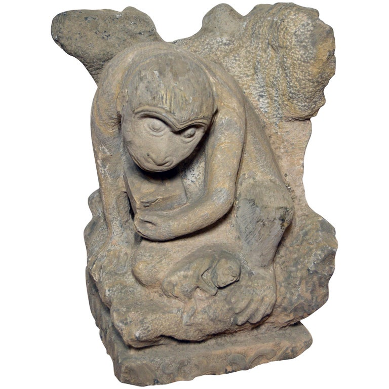 Chinese Ming Dynasty Hand-Carved Stone Monkey Sculpture with Infant Monkey For Sale