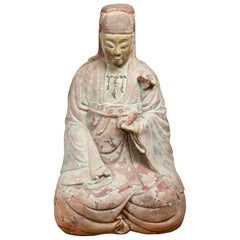 Chinese Ming Dynasty Painted and Carved Statue of Guanyin, 15th or 16th Century
