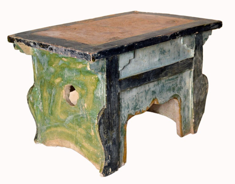 18th Century and Earlier Chinese Ming Dynasty Petite Glazed Terracotta Bench from the 17th Century For Sale