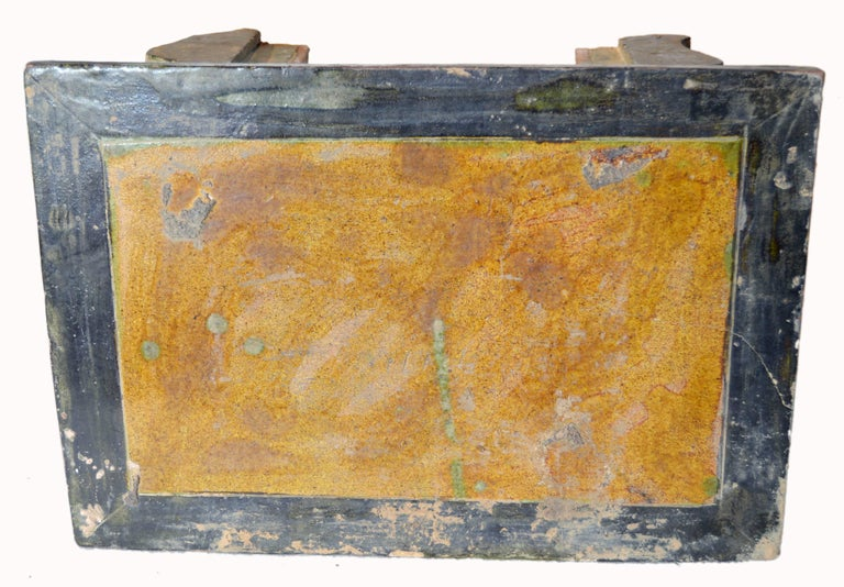 Chinese Ming Dynasty Petite Glazed Terracotta Bench from the 17th Century For Sale 3
