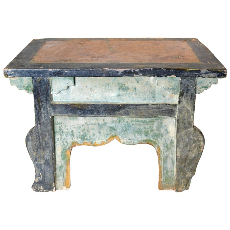 Chinese Ming Dynasty Petite Glazed Terracotta Bench from the 17th Century For Sale