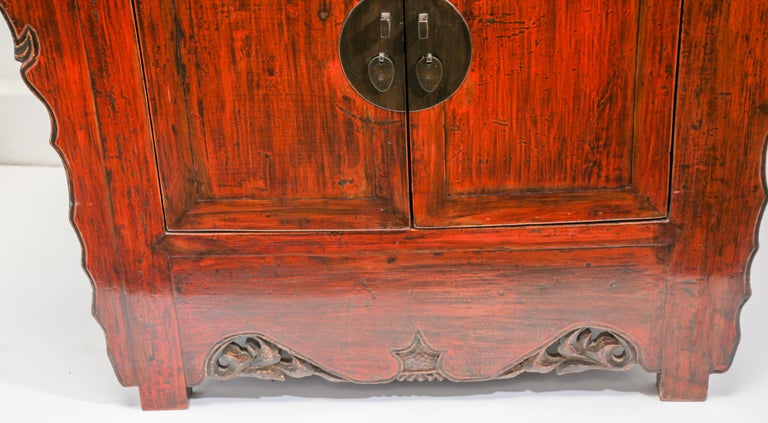 Chinese Ming Dynasty Style Altar Red Lacquered Cabinet For Sale 3