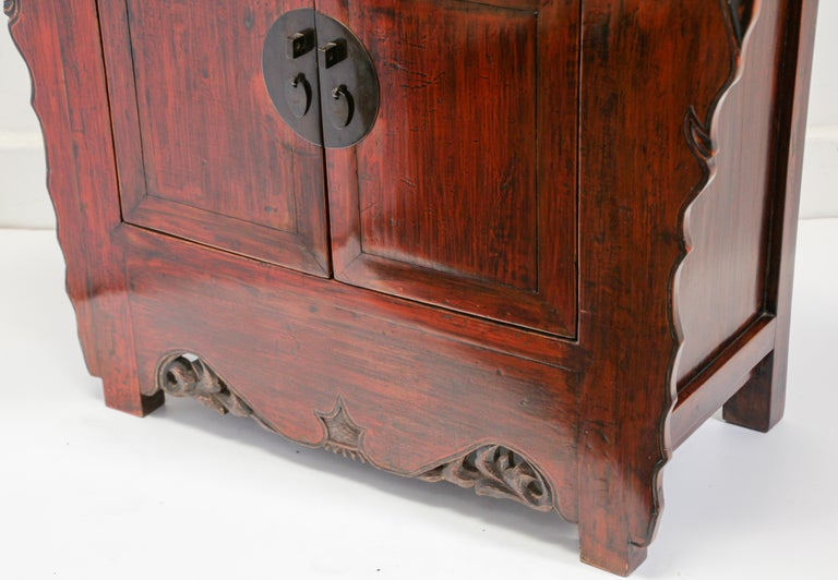 Chinese Ming Dynasty Style Altar Red Lacquered Cabinet For Sale 4