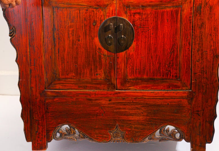 Chinese Ming Dynasty Style Altar Red Lacquered Cabinet For Sale 11