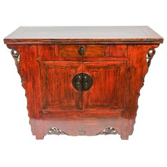 Chinese Ming Dynasty Style Altar Red Lacquered Cabinet