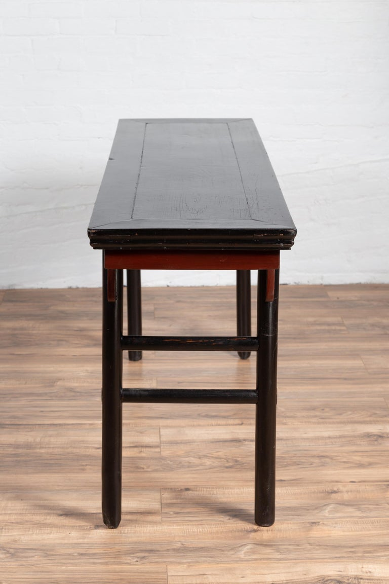 Chinese Ming Dynasty Style Black Lacquered Altar Console Table with Red Apron 5