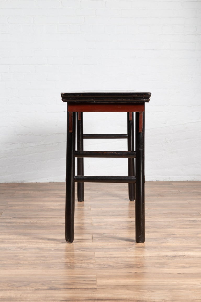 Chinese Ming Dynasty Style Black Lacquered Altar Console Table with Red Apron 6