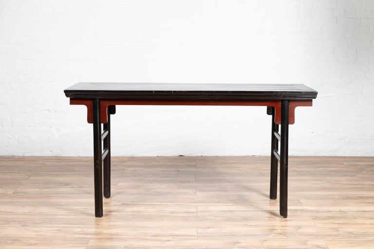 Chinese Ming Dynasty Style Black Lacquered Altar Console Table with Red Apron 7