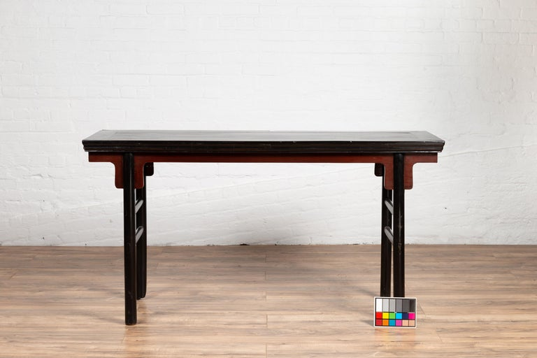 Chinese Ming Dynasty Style Black Lacquered Altar Console Table with Red Apron 8
