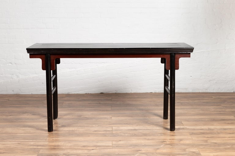 Chinese Ming Dynasty Style Black Lacquered Altar Console Table with Red Apron In Good Condition In Yonkers, NY