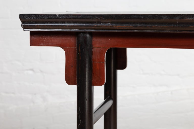 20th Century Chinese Ming Dynasty Style Black Lacquered Altar Console Table with Red Apron
