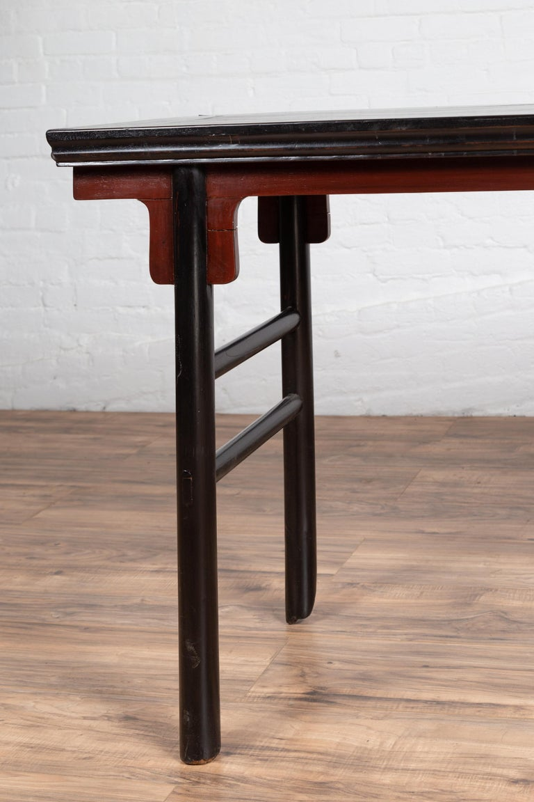 Wood Chinese Ming Dynasty Style Black Lacquered Altar Console Table with Red Apron