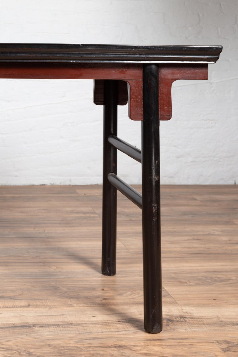 Chinese Ming Dynasty Style Black Lacquered Altar Console Table with Red Apron 1