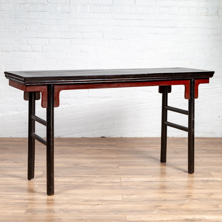 Chinese Ming Dynasty Style Black Lacquered Altar Console Table with Red Apron 2