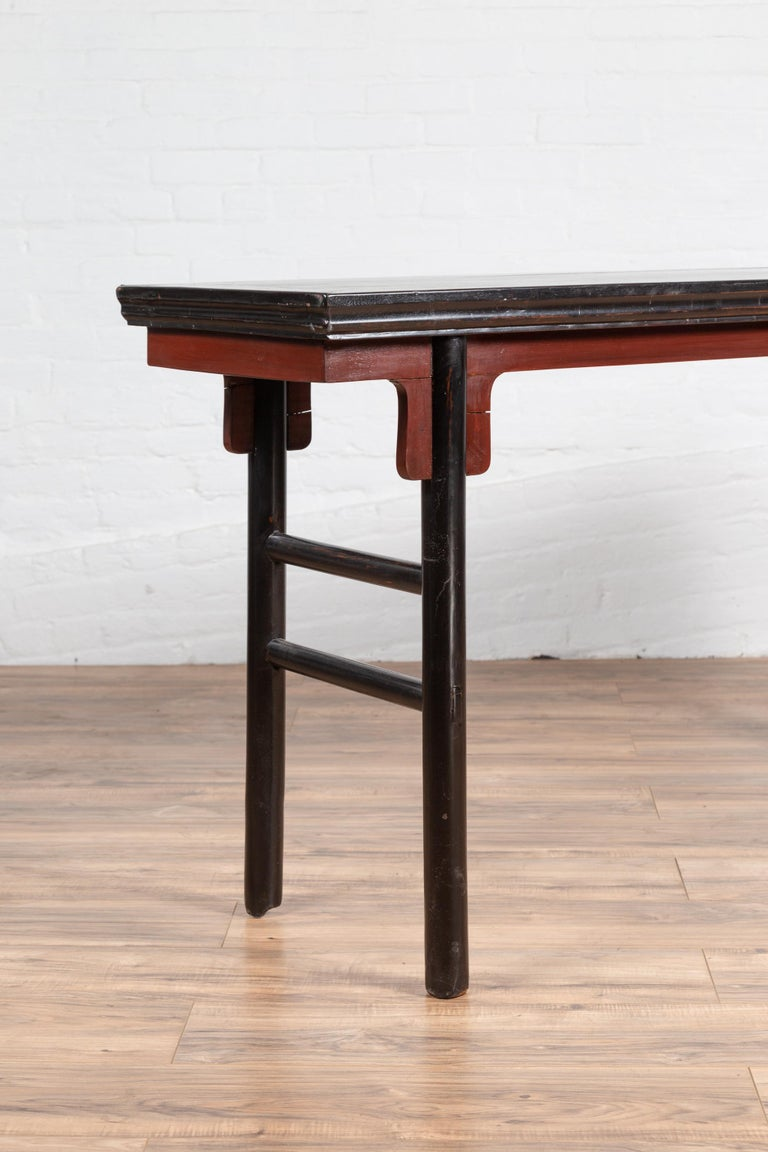 Chinese Ming Dynasty Style Black Lacquered Altar Console Table with Red Apron 3