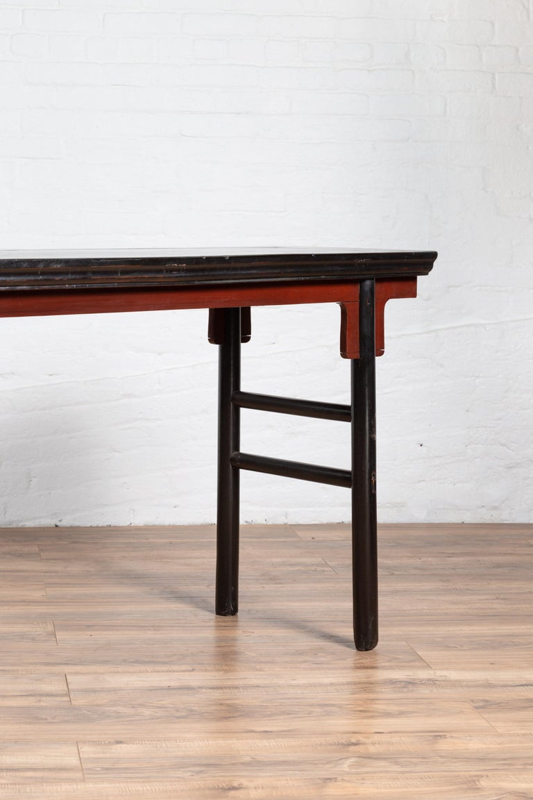 Chinese Ming Dynasty Style Black Lacquered Altar Console Table with Red Apron 4