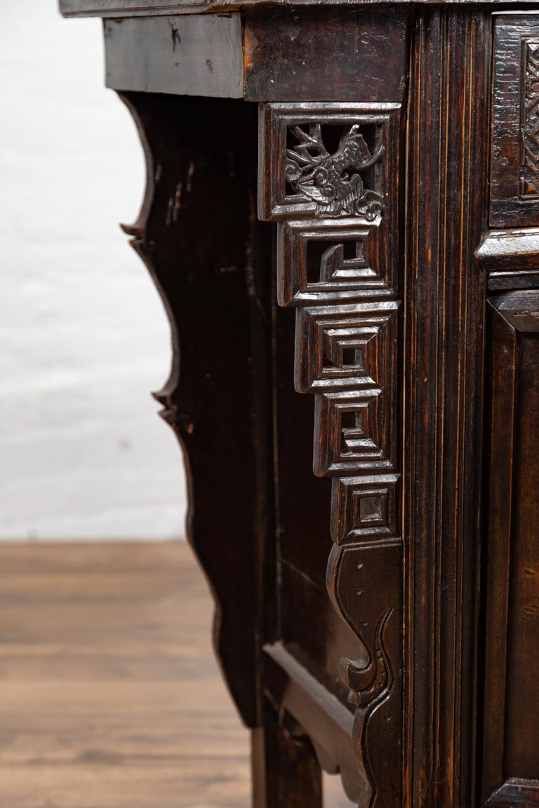 Chinese Ming Dynasty Style Butterfly Cabinet with Carved Spandrels and Doors For Sale 5