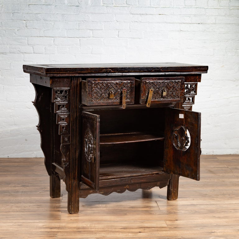 Chinese Ming Dynasty Style Butterfly Cabinet with Carved Spandrels and Doors For Sale 6