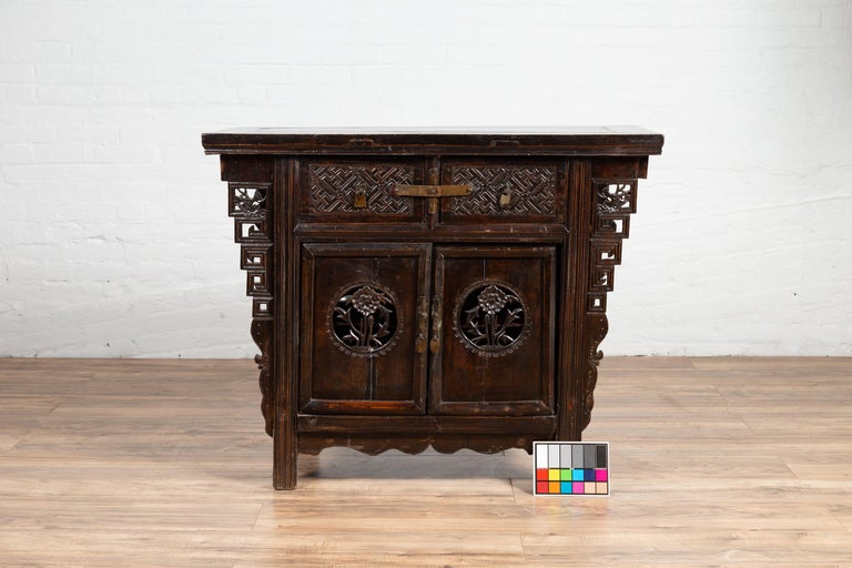 Chinese Ming Dynasty Style Butterfly Cabinet with Carved Spandrels and Doors For Sale 7