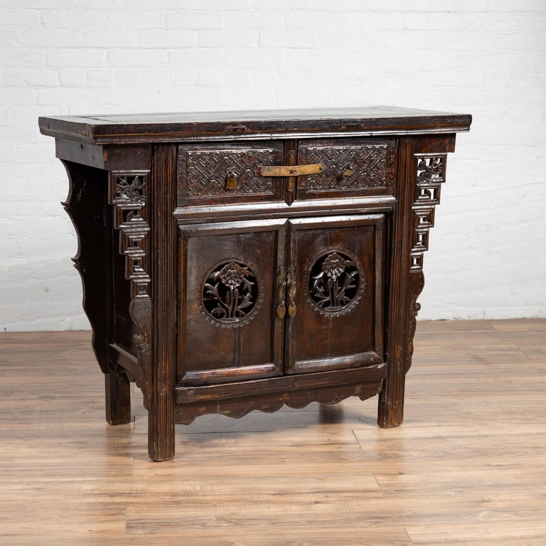 Chinese Ming Dynasty Style Butterfly Cabinet with Carved Spandrels and Doors For Sale 8