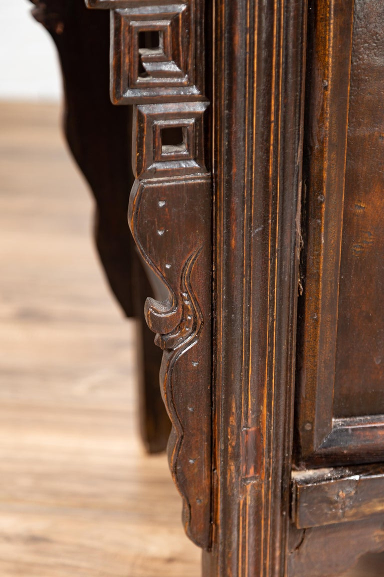 Chinese Ming Dynasty Style Butterfly Cabinet with Carved Spandrels and Doors For Sale 9