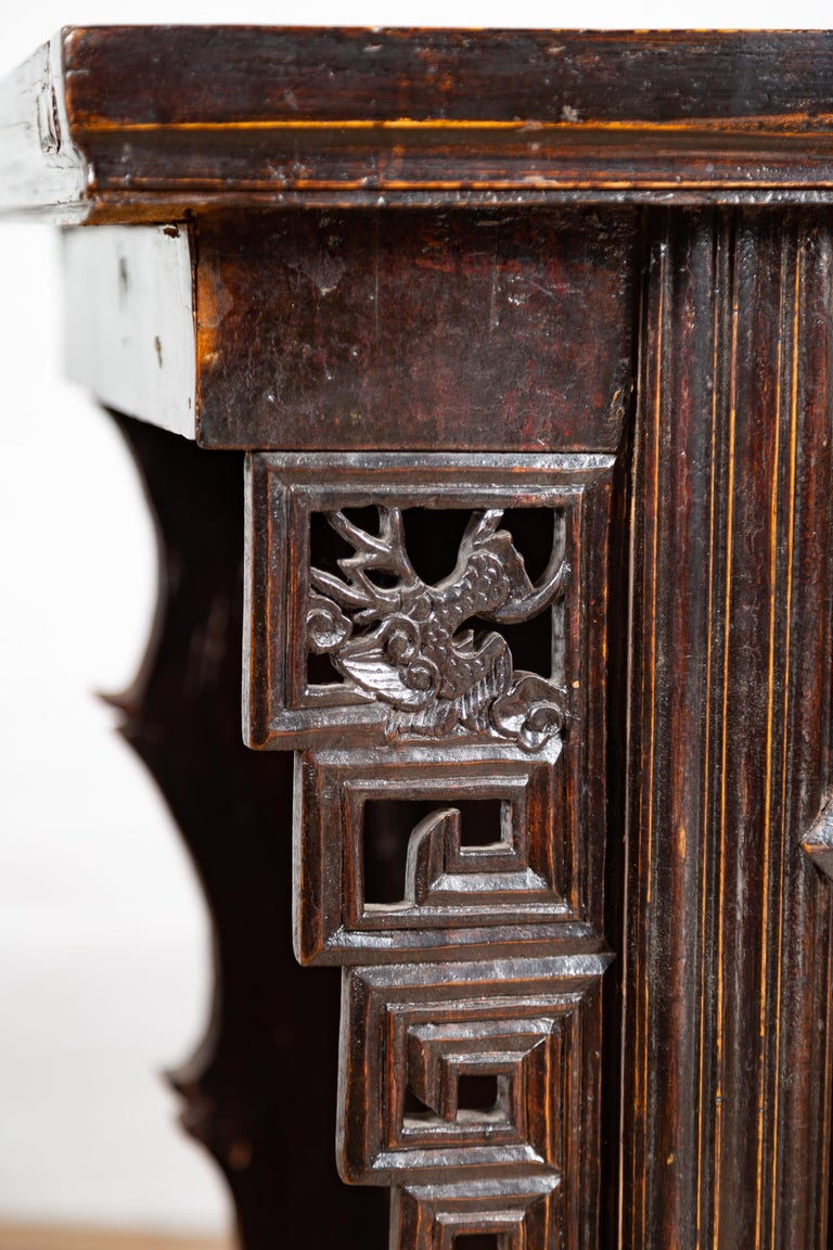 Chinese Ming Dynasty Style Butterfly Cabinet with Carved Spandrels and Doors For Sale 10