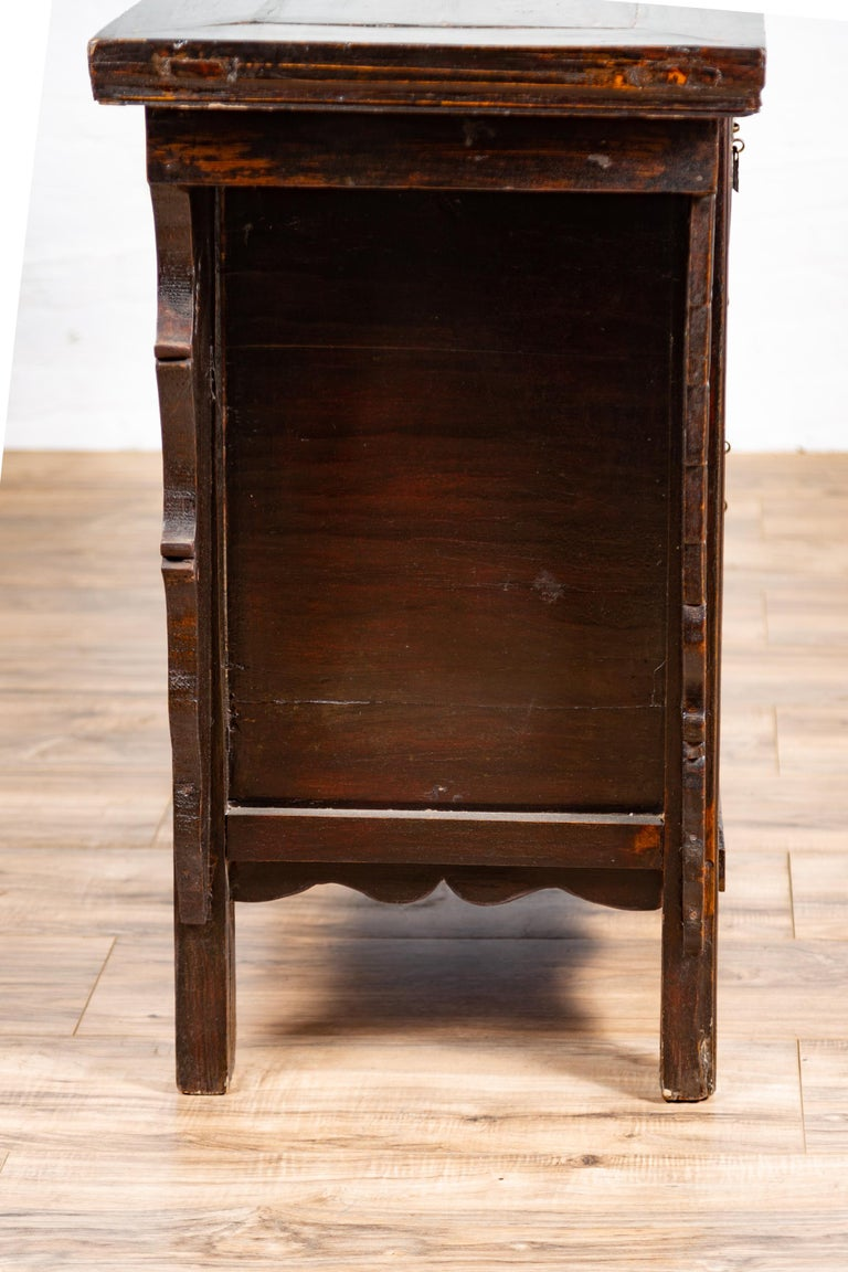 Chinese Ming Dynasty Style Butterfly Cabinet with Carved Spandrels and Doors For Sale 12