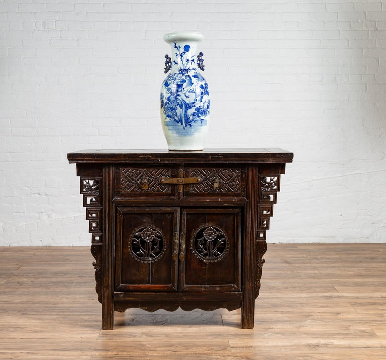Chinese Ming Dynasty Style Butterfly Cabinet with Carved Spandrels and Doors For Sale 15