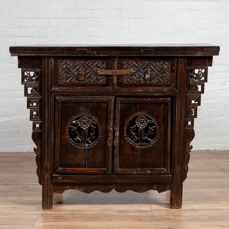 Chinese Ming Dynasty Style Butterfly Cabinet with Carved Spandrels and Doors In Good Condition For Sale In Yonkers, NY