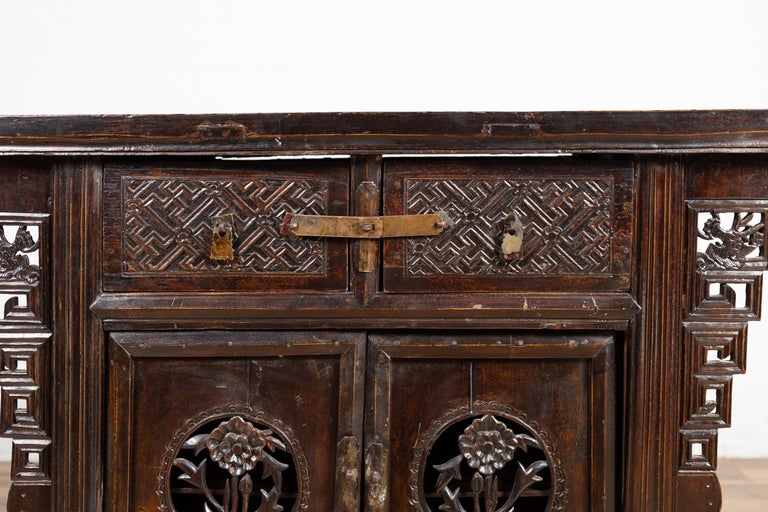 19th Century Chinese Ming Dynasty Style Butterfly Cabinet with Carved Spandrels and Doors For Sale