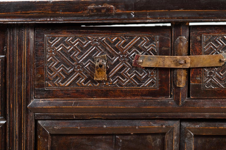 Wood Chinese Ming Dynasty Style Butterfly Cabinet with Carved Spandrels and Doors For Sale
