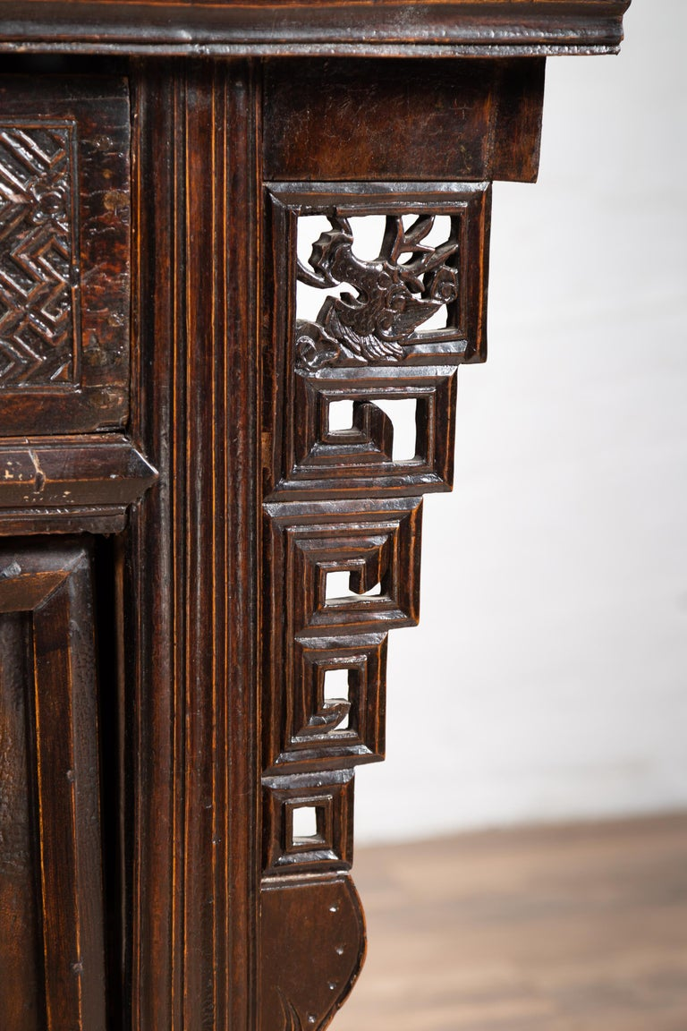 Chinese Ming Dynasty Style Butterfly Cabinet with Carved Spandrels and Doors For Sale 1
