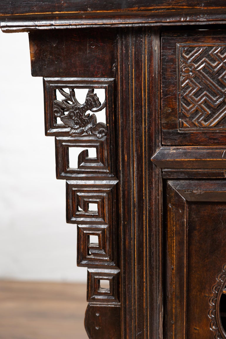 Chinese Ming Dynasty Style Butterfly Cabinet with Carved Spandrels and Doors For Sale 2