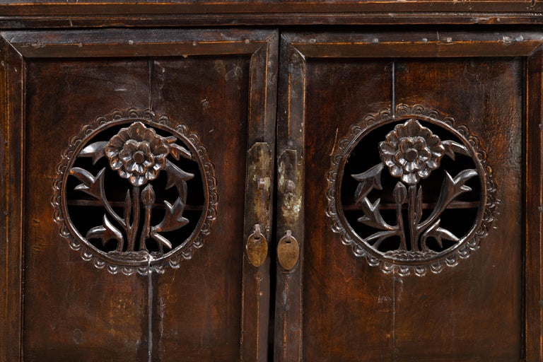 Chinese Ming Dynasty Style Butterfly Cabinet with Carved Spandrels and Doors For Sale 3