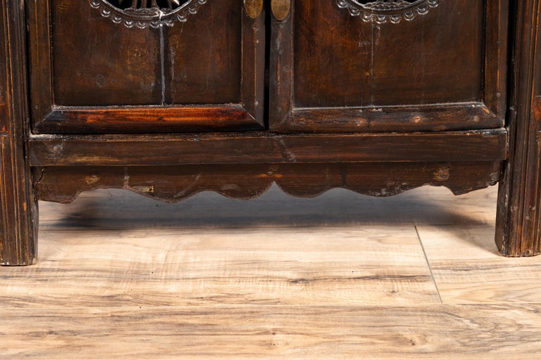 Chinese Ming Dynasty Style Butterfly Cabinet with Carved Spandrels and Doors For Sale 4