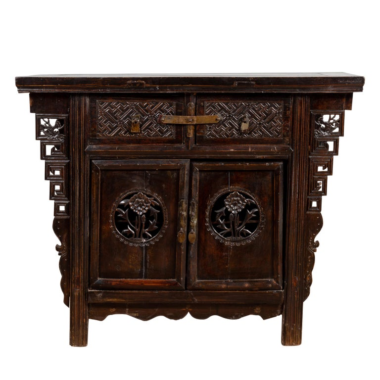 Chinese Ming Dynasty Style Butterfly Cabinet with Carved Spandrels and Doors For Sale
