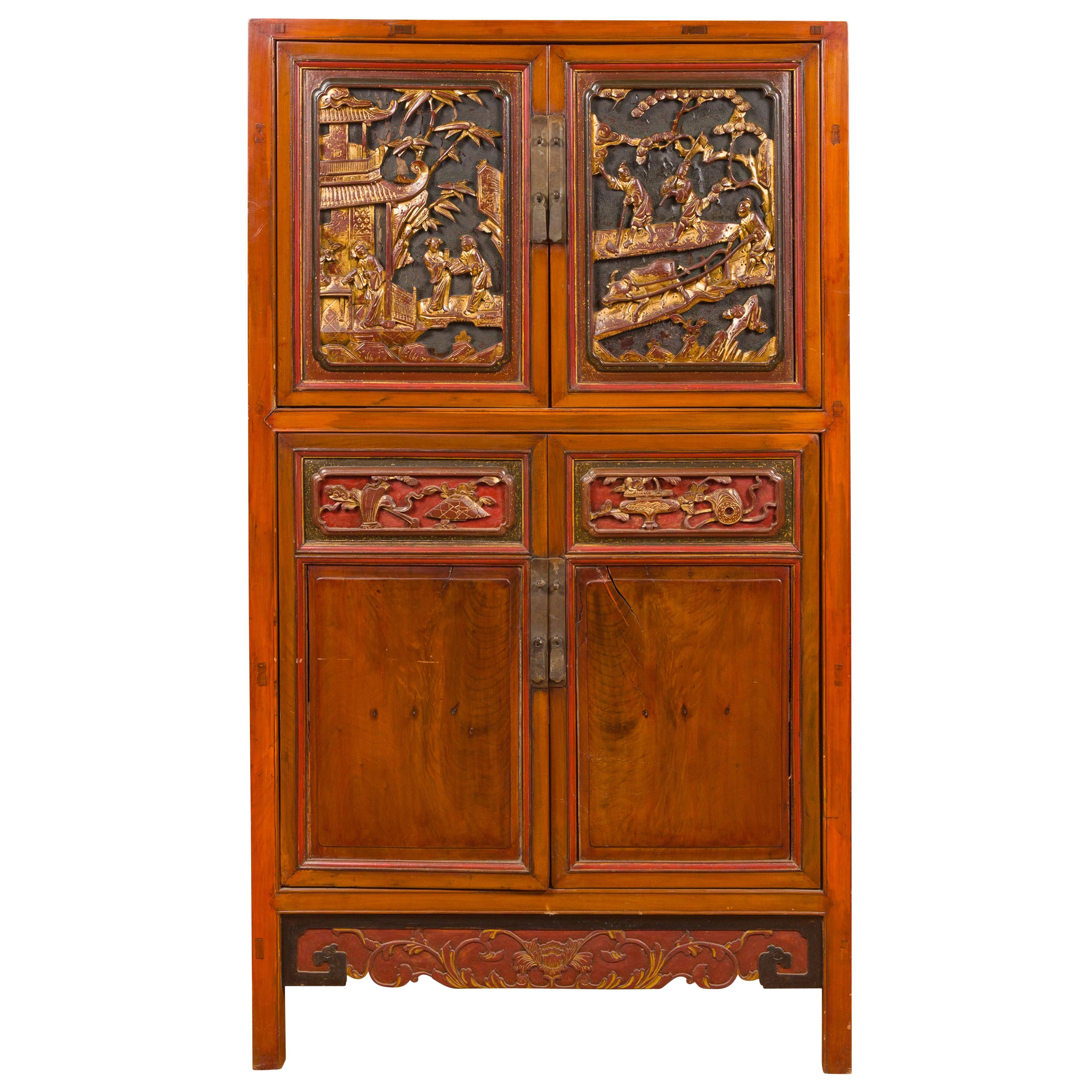 Chinese Ming Dynasty Style Cabinet with Gilt Carved Court and Work Scenes