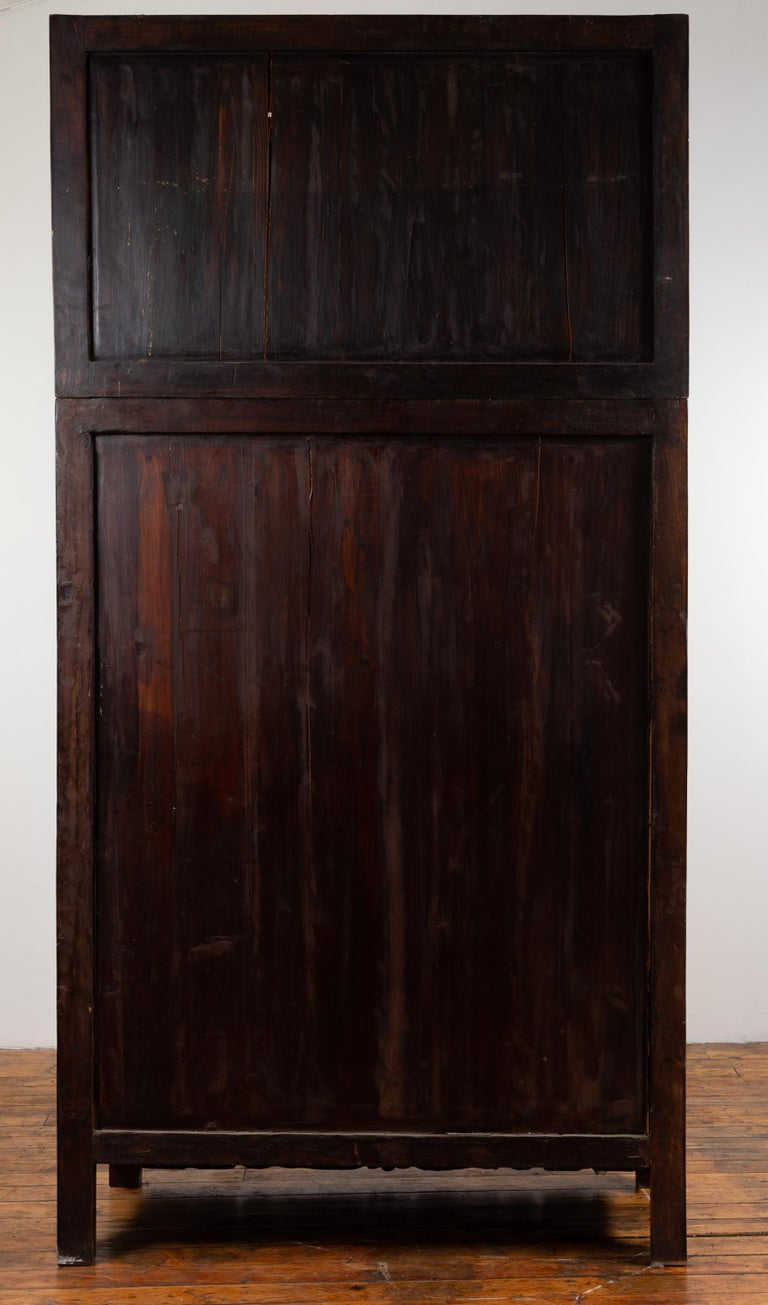 Chinese Ming Dynasty Style Compound Wedding Wardrobe with Carved Floral Skirt For Sale 8